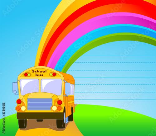 In de dag Regenboog Yellow School Bus background