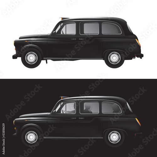 Vászonkép London symbol -  black cab - isolated - businessman - bankers