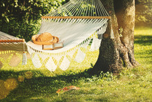 View Of Hammock And Book  On A...