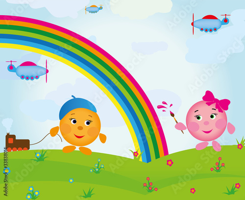 In de dag Regenboog cartoon_rainbow