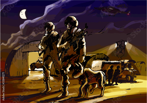 Poster Militaire Two soldiers with the dog are patrolling the military base