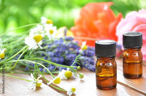 Fotografie, Obraz  essential oil with herbs
