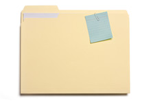 File Folder With Note Clipped On It On White
