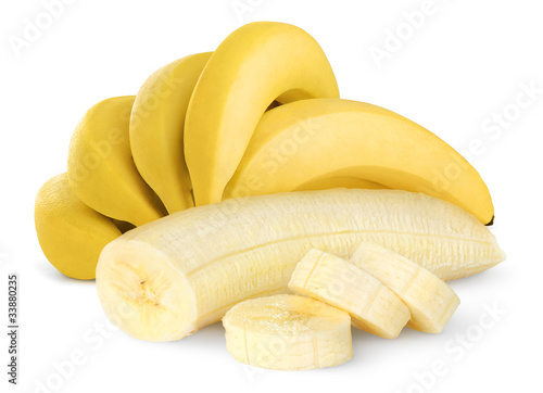 Isolated bunch of banana fruits. Peeled cut bananas isolated on white background