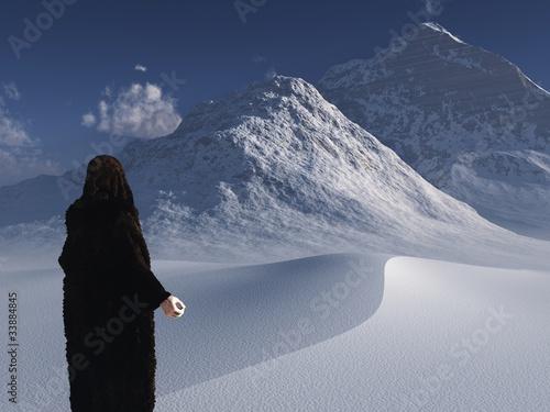 Traveller in bearskin cloak surveys frozen landscape Wallpaper Mural