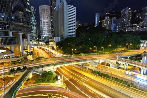 Poster Oceanië modern city traffic at night