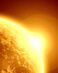 Golden planet earth in outer space
