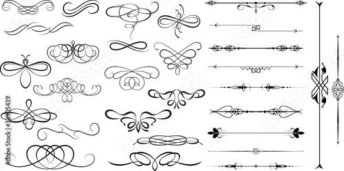 Fototapeta Spiral Swirl Decorative Flourish Divider Elements obraz