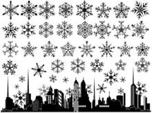 Urban Cityscape Snowflakes Ele...