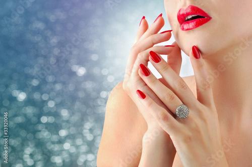 Staande foto Manicure Lips and manicure