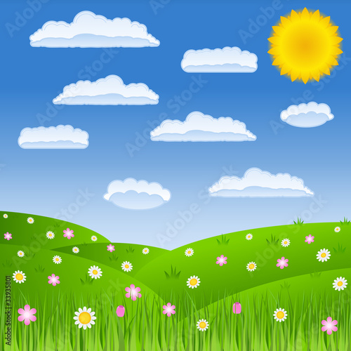 Poster Lime groen Summer green field and blue sky with clouds