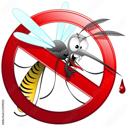 Door stickers Draw Zanzara Tigre Cartoon Divieto-Mosquito Forbidden-Vector