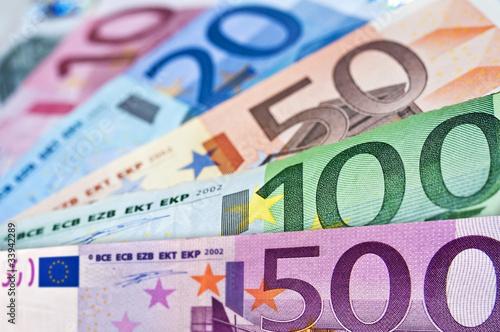 Fotografía  Eventail de billets en euros