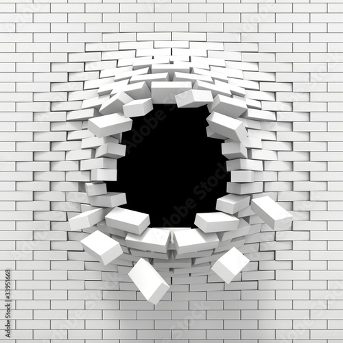 Zniszczenie białego muru z cegły