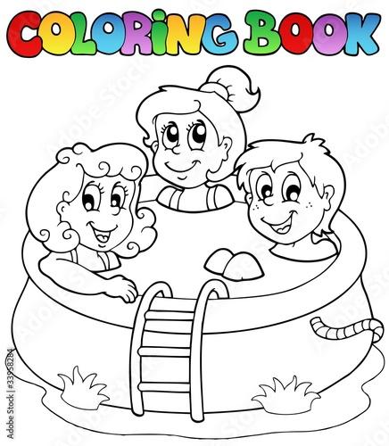 Tuinposter Doe het zelf Coloring book with kids in pool