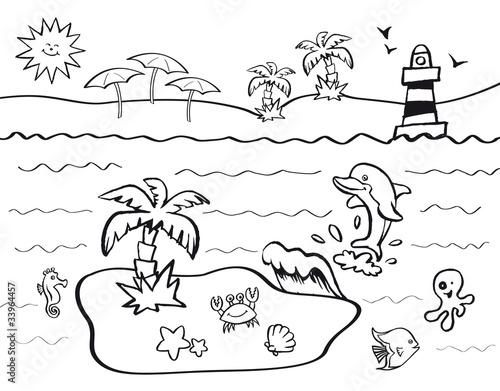 Disegno Da Colorare Per Bambini Con Tema Vacanze Al Mare Stock Vector Adobe Stock