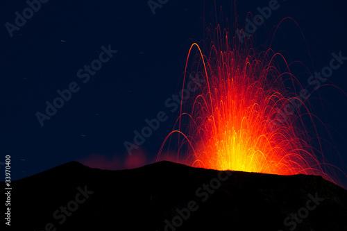 Autocollant pour porte Volcan volcano eruption