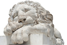 Sleeping Lion Statue Isolated On White