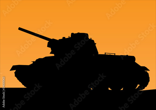 Poster Militaire tank silhouette against the background of orange sunset