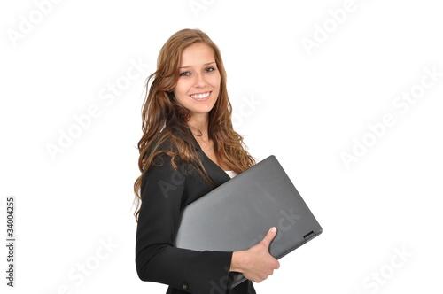 Fotografía  Auszubildende mit Laptop seitlich