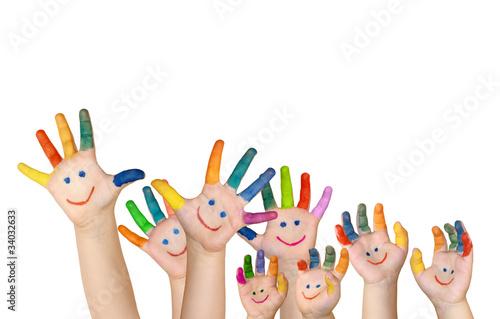 Naklejka na meble mehrere bemalte Kinderhände