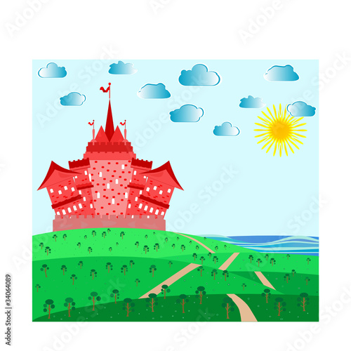 Poster Castle Fairytale landscape with red magic castle. vector