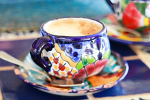 Cappuccino Served In Colorful ...