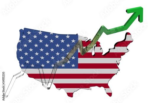 Dollars graph on USA map flag illustration – kaufen Sie diese ...