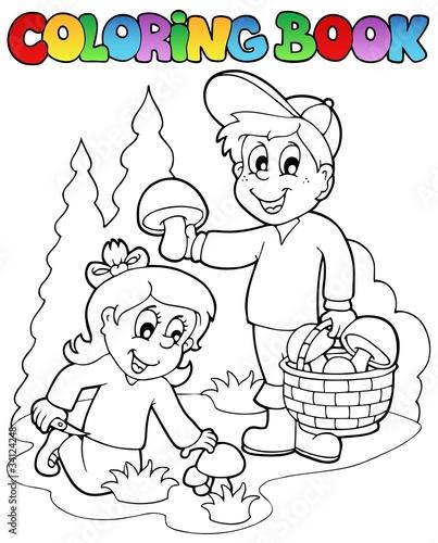Türaufkleber Zum Malen Coloring book with kids mushrooming