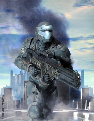 Fotografía  futuristic soldier armor at war