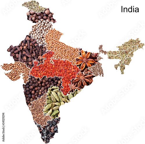 Map of India with spices