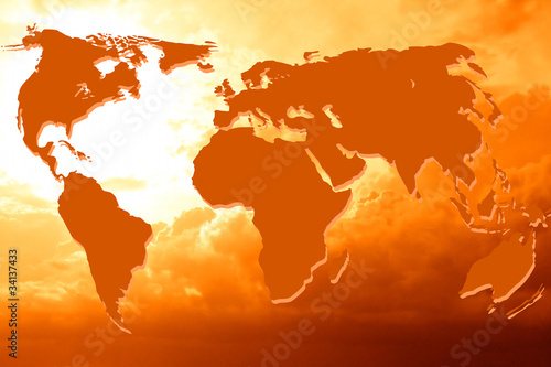 Türaufkleber Weltkarte world map abstract background