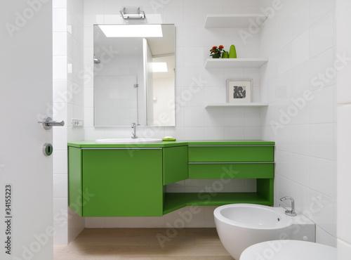 Bagno moderno con mobili colorati buy this stock photo and explore