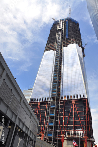 Construction of World Trade Center tower плакат