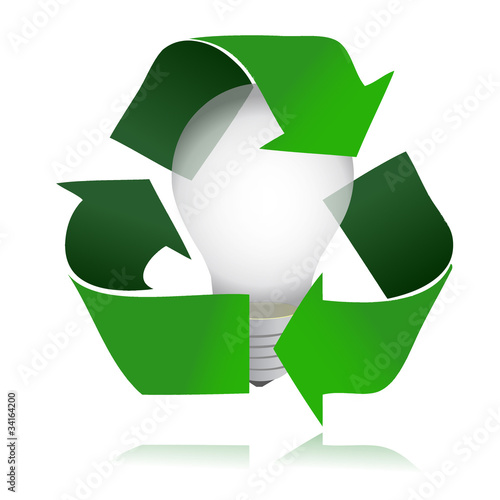 A Light Bulb Inside The Recycle Symbol 3d Image Buy This Stock