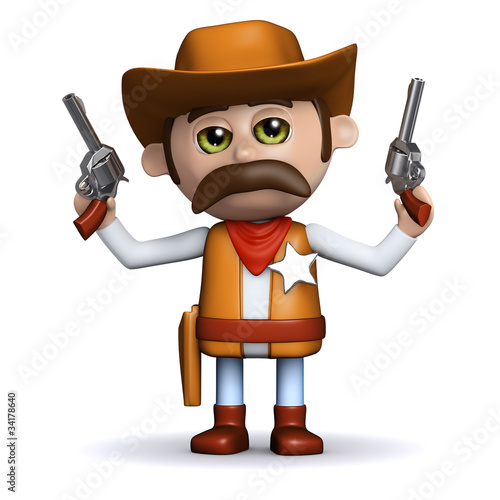 Aluminium Prints Wild West 3d Sheriff shoots both guns in the air