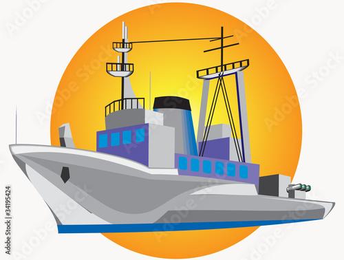 Grey warship Canvas Print