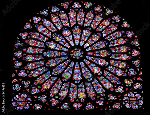 Fotografia  Stained glass window in Notre dame