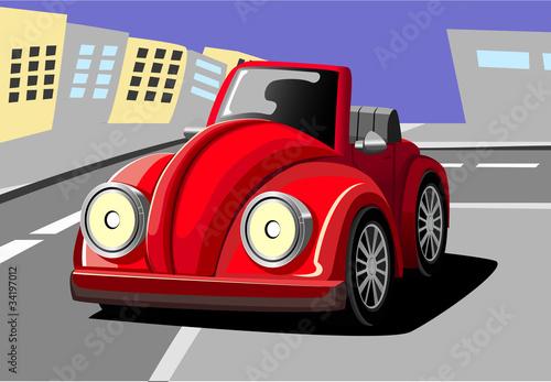 Foto op Canvas Cars cartoon car six