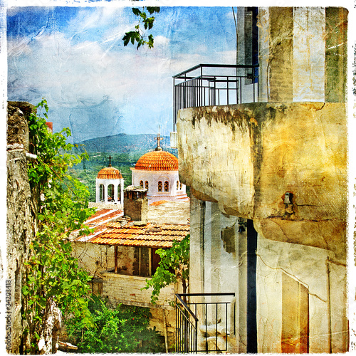 Greek streets and monastries-artwork in painting style