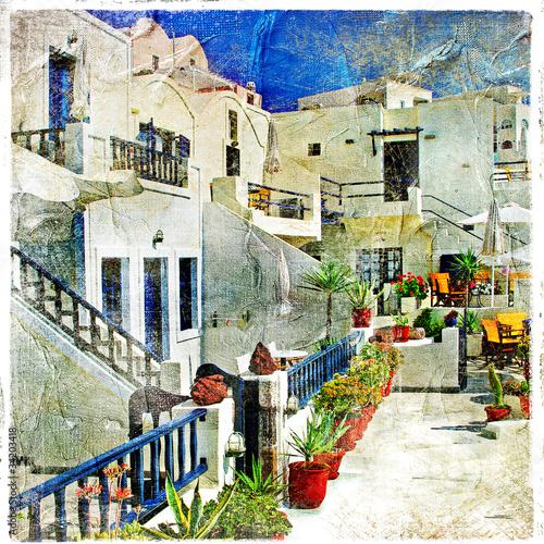 ulice-santorini-grafika-w-stylu-malarskim