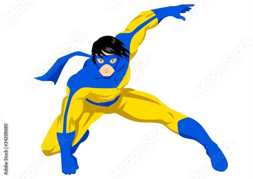 Poster Superheroes Stock vector of a superhero with mask posing in action