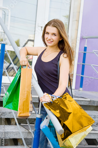 Fototapety, obrazy: Woman with shopping