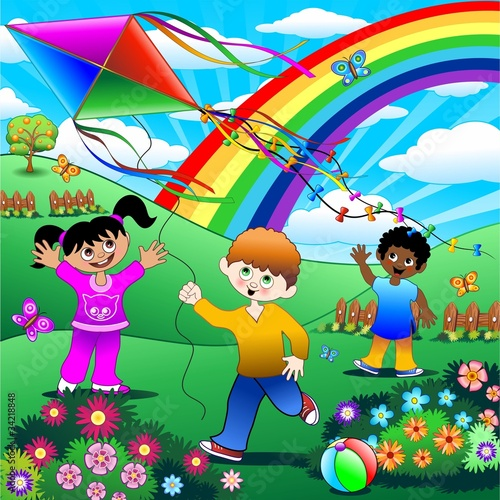 Poster Regenboog Bambini Giocano con Aquilone-Children with Kite Background