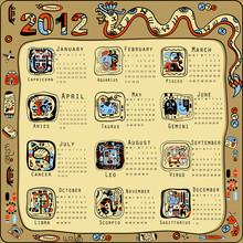 2012 Year Calendar In Indian Maya Style.