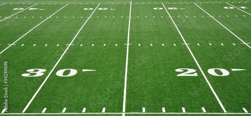 Plakat Linia dwudziestu i trzydziestu jardów na polu futbolu amerykańskiego
