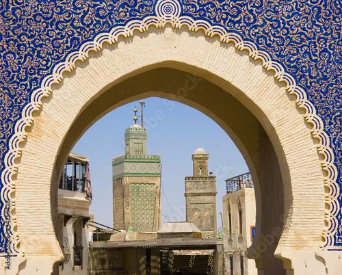Photo sur Aluminium Maroc La porta blu medina di Fes