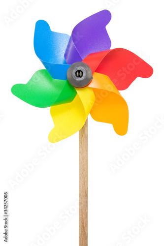 Fotografia, Obraz  Colorful pinwheel isolated on a white background.