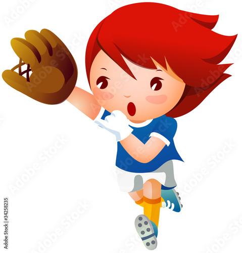 Papiers peints Chambre bébé Girl playing baseball