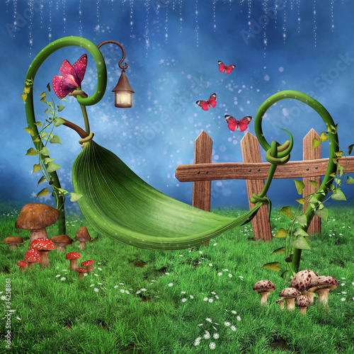 Obraz Zaczarowana łąka z hamakiem z liści - fototapety do salonu